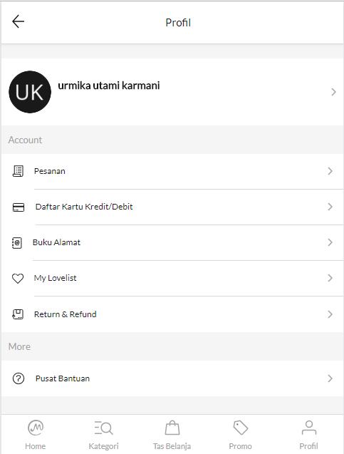 Profil Page Mataharimall